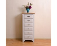 French Style Rustic Oak 6 Drawer Tallboy (New Arrival!)