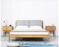 Navia Solid oak Queen Size Bed Frame with Upholstered Headboard