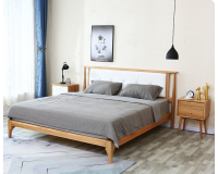 Natural Solid Oak Queen Size Bed Frame with PU Leather (New Arrival!!!)